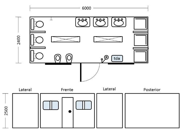 Container m dulo bater a de ba o 3x3 especial arricam s - Modulos de bano ...